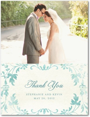 Washed Damask Thank You Postcards Seafoam