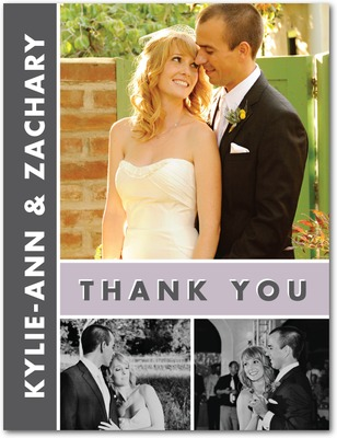 Chic Couple Thank You Postcards Boysenberry