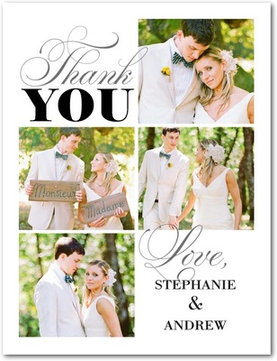 Your Type Thank You Postcards White