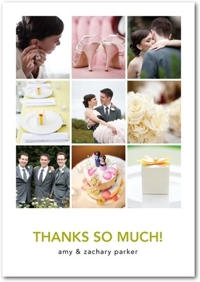 Memorable Montage Signature White Thank You Cards Chartreuse