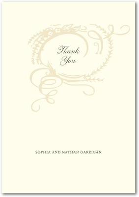 Monogram Motif Signature White Thank You Cards Vanilla