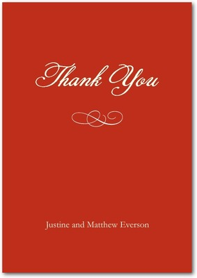 Formal Scroll Signature White Thank You Cards Firecracker