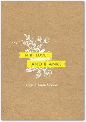 Kraft Cute Signature White Thank You Cards Sunny Yellow