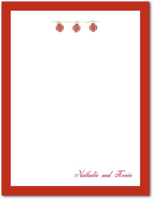 Lantern Signature White Thank You Cards Cherry Red