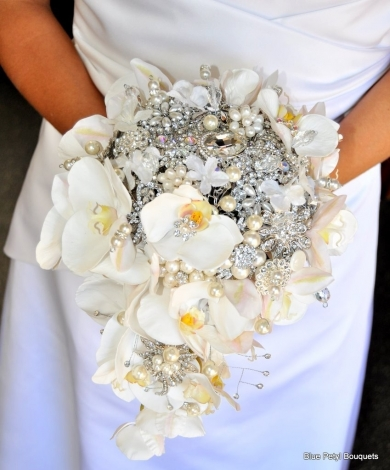 Cascading Orchid Brooch Bouquet HM06