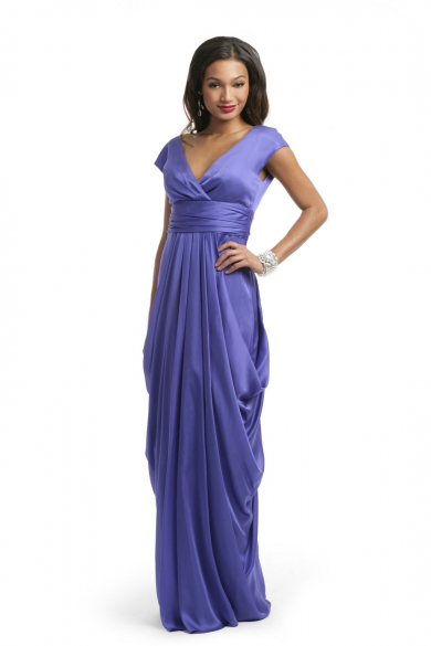 African Violet Draped Gown
