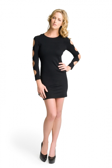 Back Zip Cut Out Sleeve Dress