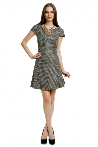 Basketweave Cap Sleeve Dress