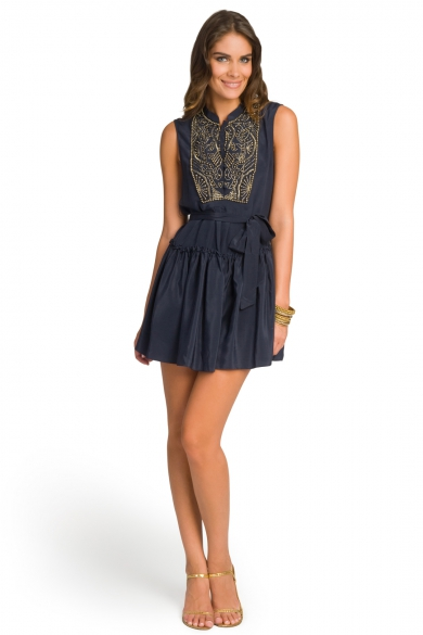 Beaded Bib Flirty Dress