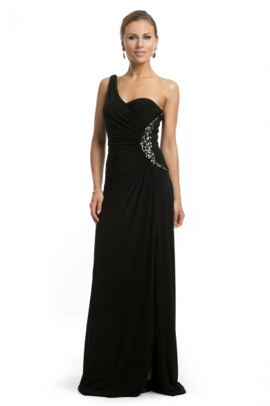 Black Beaded One Shoulder Gown