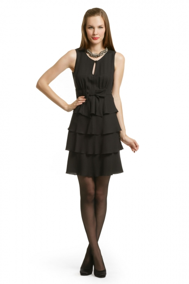 Black Bow Tiered Dress