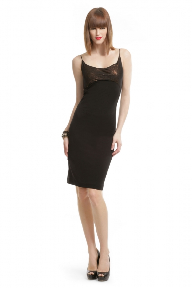 Black Copper Sheath Dress