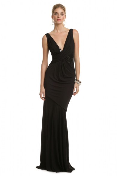 Black Seductive Sequin Gown