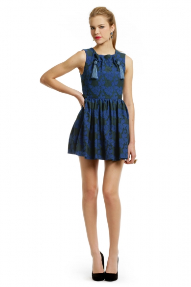 Blue Leaf Tassle Dress