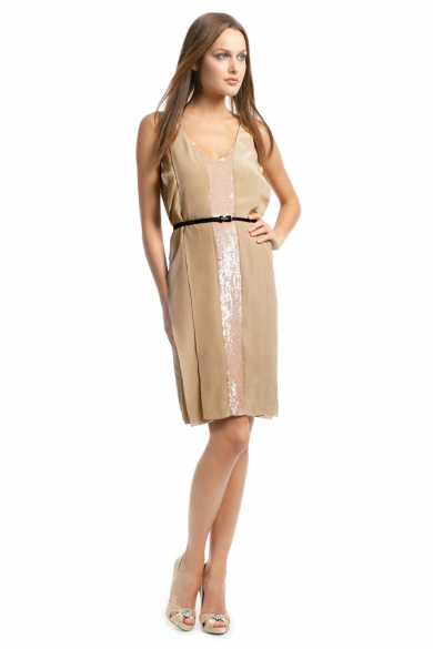 Caramel V Neck Sequin Dress