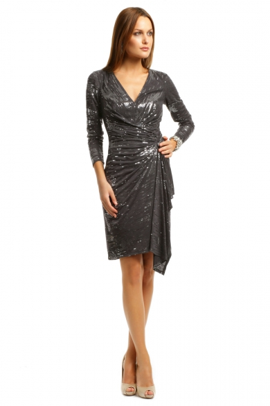 Charcoal Cocktail Sequin Dress