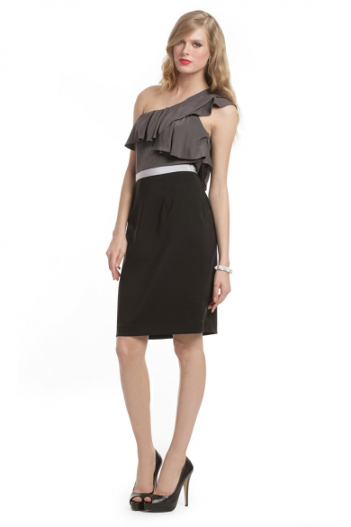 Charcoal Colorblock Ruffle Dress