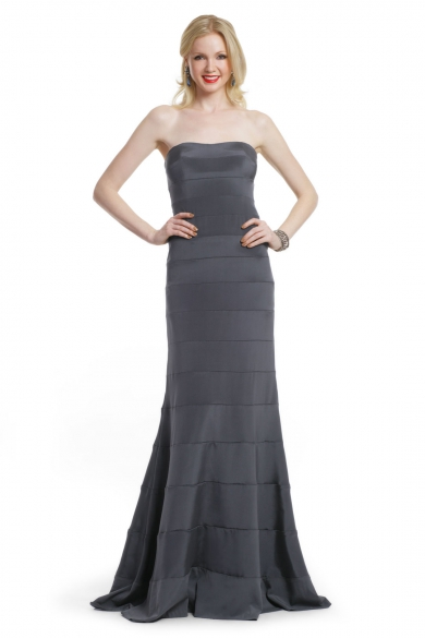 Charcoal Strips Strapless Gown