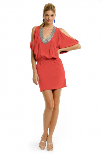 Coral Silk Wave Dress