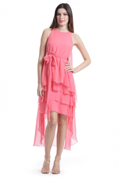 Coral Waterfall Dress