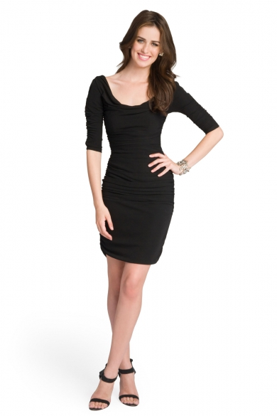 Cowl Neck Sleeved Dress