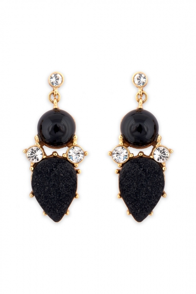 Geo Black Onyx Drop Earrings