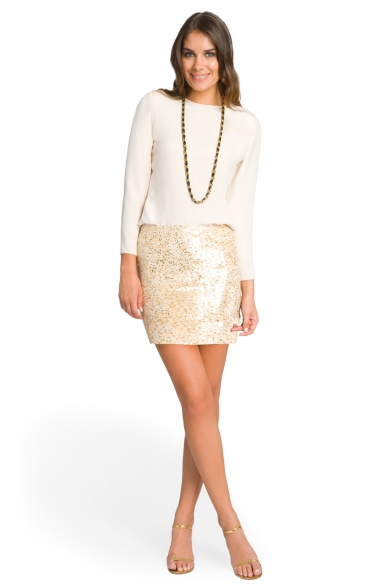 Glam Nude Sequin Skirt