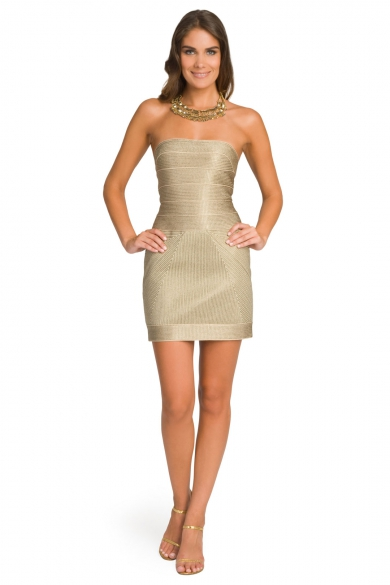 Gold Glimmer Strapless Dress