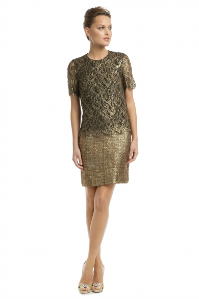 Gold Speck Tweed Dress