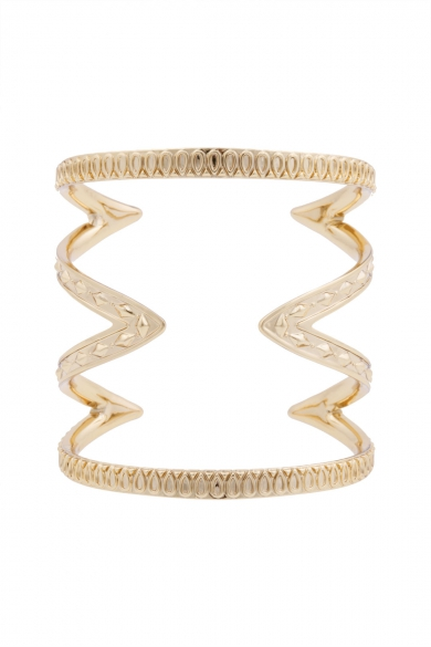 Gold Textured Cut Out Cuff