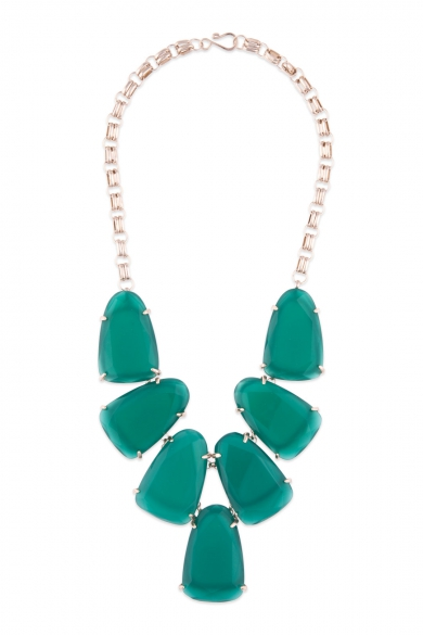 Green Stone Bib Necklace