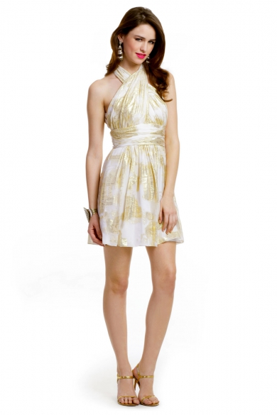 Ivory Lurex Halter Dress