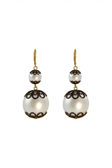 Japanese Floral Pearl Earrings