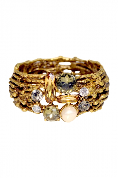 Jeweled Champagne Branch Cuff