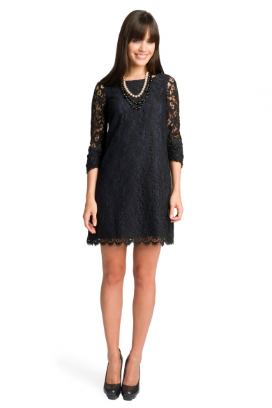 Lace Boatneck Back Dress