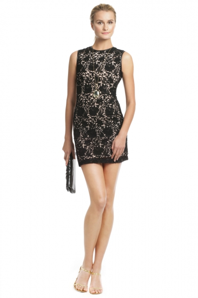 Lace Leather Chemise Dress