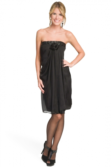 Leather Band Strapless Dress