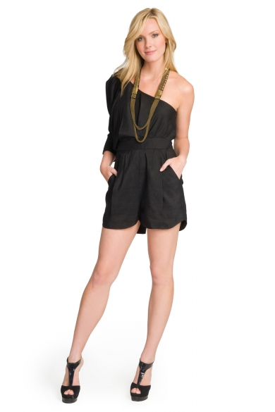 Linen One Sleeve Romper