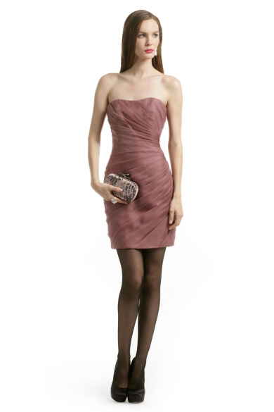 Mauve Spiral Strapless Dress