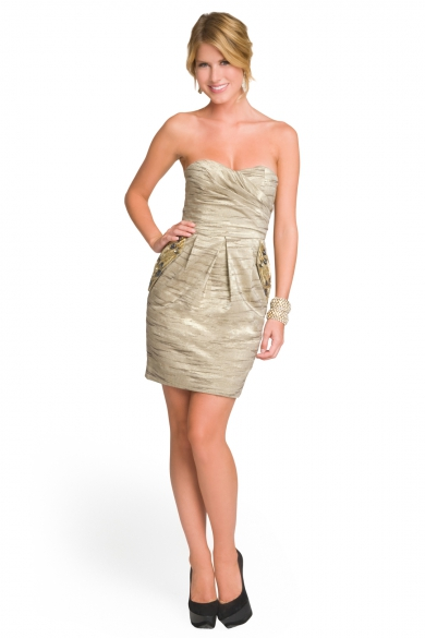 Metallic Embellished Pocket Dress
