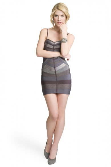Metallic Striped Bandage Dress