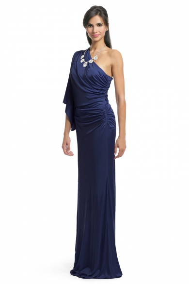 Navy Batwing Draped Gown