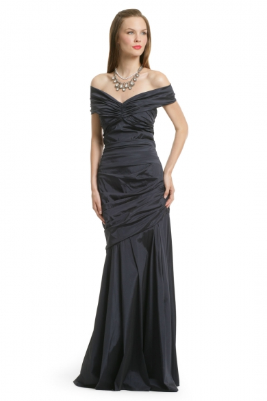 Navy Taffeta Ruched Gown