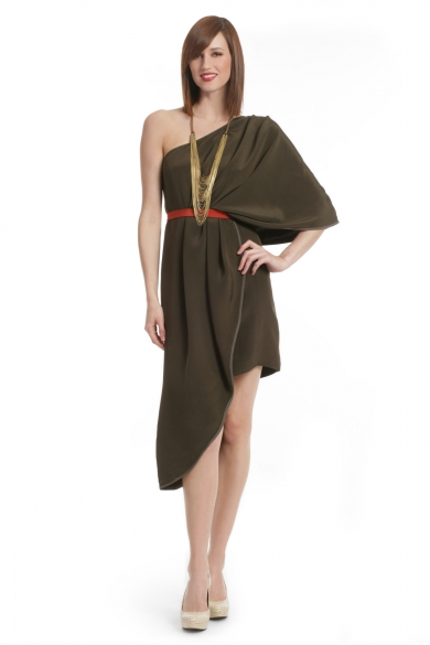 Olive One shoulder Color block Dress