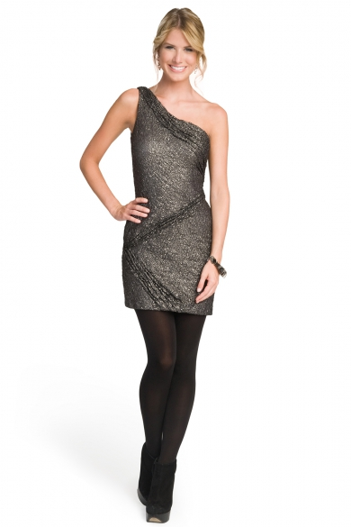 One Shoulder Metallic Lace Dress