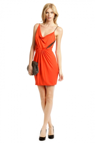 Orange Mesh Insert Dress