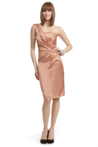 Peach Satin Draped Dress