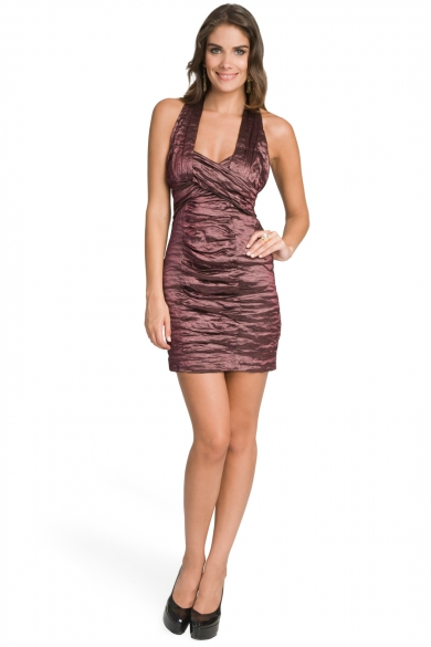 Plum Metallic Ruched Dress
