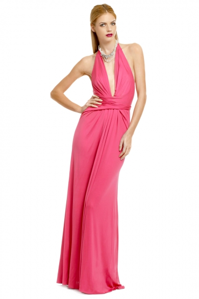 Plunging Pink Wrap Gown