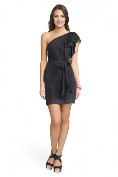 Pretty Belted Ruffle Dress